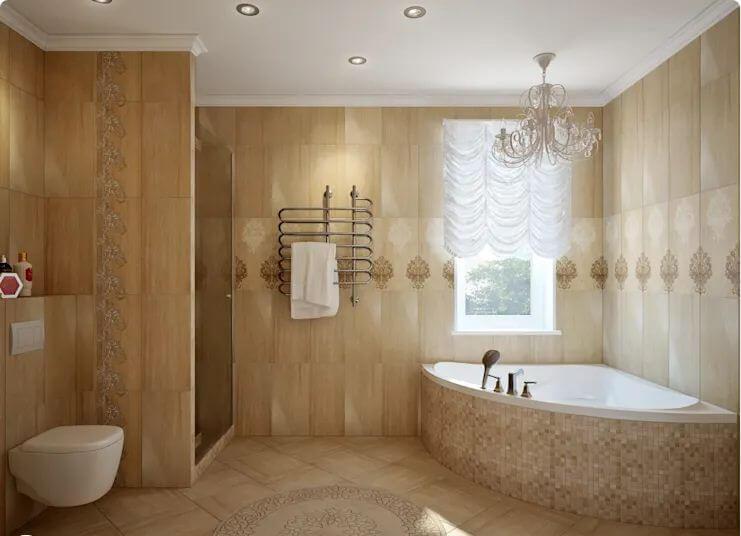 Bồn tắm tam giác với thiết kế vàng đồng phù hợp với không gian có phong cách tân cổ