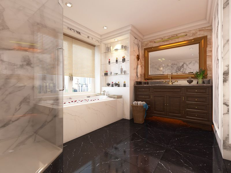 Sử dụng đá cẩm thạch trong phòng tắm mang đến sự thời thượng và cảm giác thư thái cho khách hàng