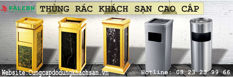 thùng rác khách sạn mạ vàng
