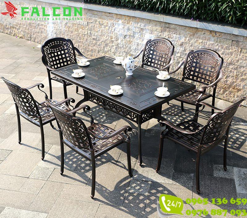 Bộ bàn ghế nhôm đúc ngoài trời cho khách sạn, biệt thự
