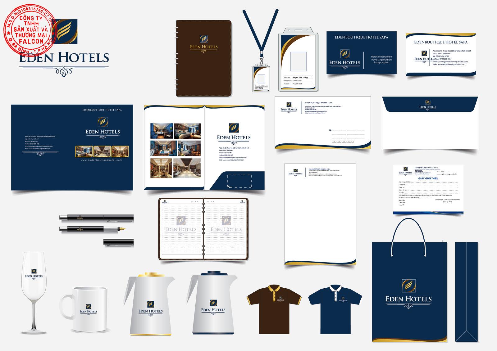 Thiết kế in ấn tổng thể bao bì đựng đồ dùng khách sạn